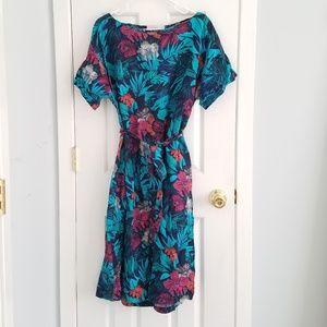 Linen Tropical Hawaiian Midi Dress Md